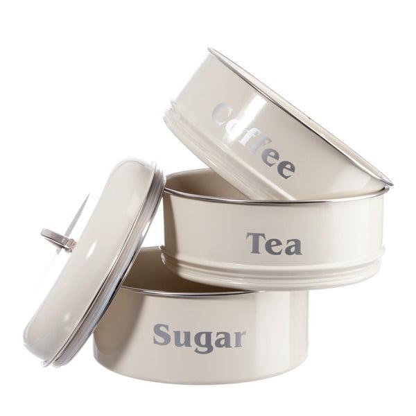 Zestaw 3 pojemników Cream Tea, Coffee and Sugar, 18x28 cm