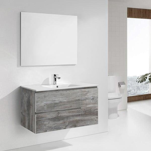 Szafka do łazienki z umywalką i lustrem Happy, motyw vintage, 100 cm
