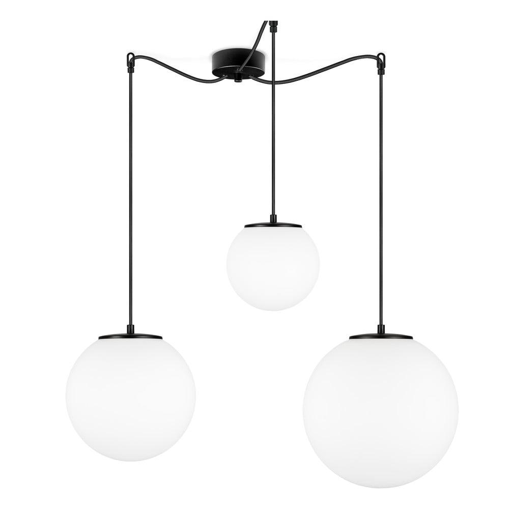 Biała lampa wisząca z 3 kloszami i oprawką w czarnym kolorze Sotto Luce TSUKI