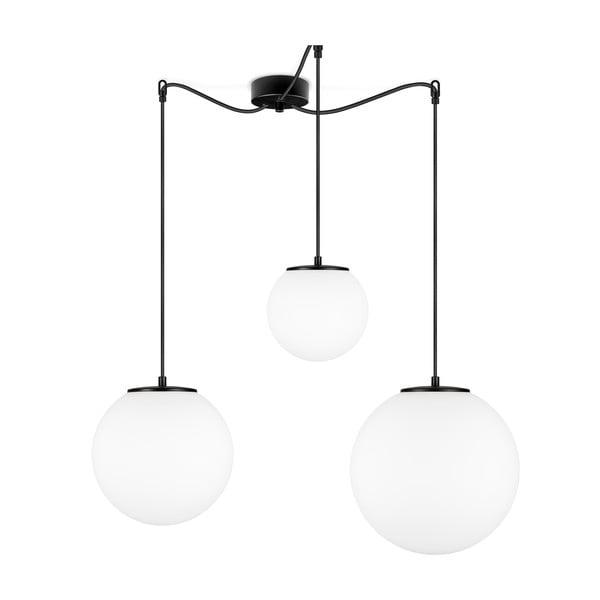 Biała lampa wisząca z 3 abażurami i oprawką w czarnym kolorze Sotto Luce TSUKI