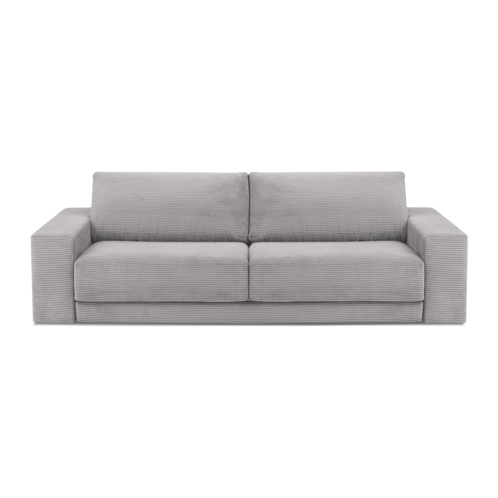 Jasnoszara sztruksowa 3-osobowa sofa rozkładana Milo Casa Donatella