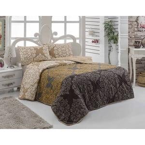 Narzuta na łóżko z poszewką na poduszkę Minerva Brown, 160x220 cm