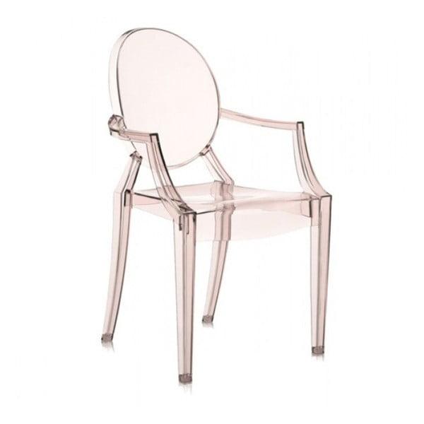 Jasnopomarańczowe krzesło Kartell Louis Ghost