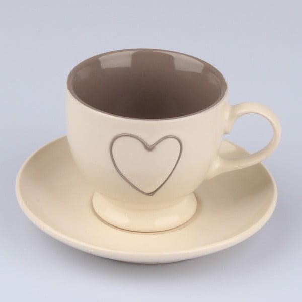 Biały ręcznie zdobiony kubek ceramiczny ze spodkiem Dakls Heart Light, 0,2 l