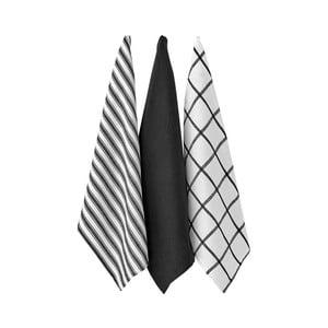Zestaw 3 czarnych ścierek kuchennych Ladelle Butcher Stripe