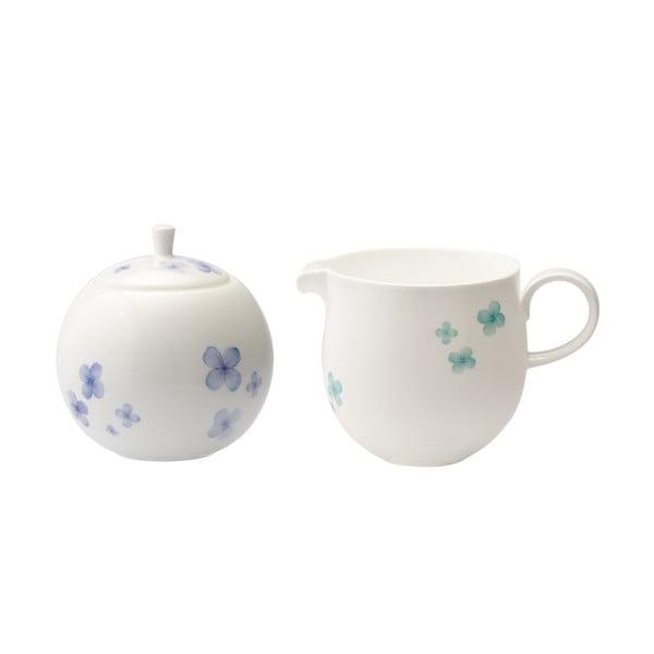 Cukierniczka i mlecznik z porcelany angielskiej Petal