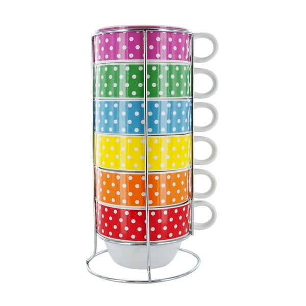 Zestaw 6 kubków na stojaku Café Latte Mini Dots
