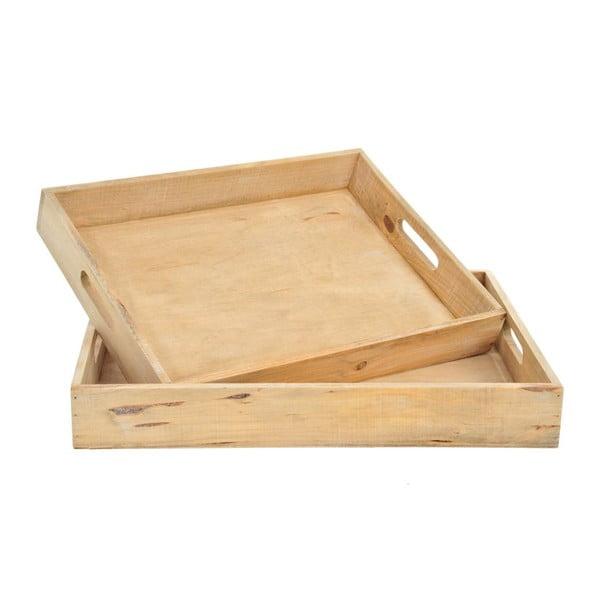 Zestaw 2 drewnianych tac, 43x33x6 cm