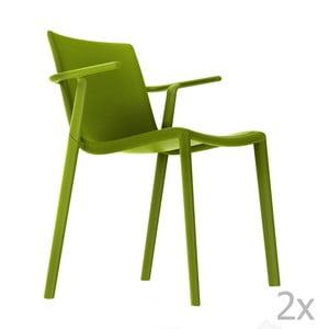 Zestaw 2 zielonych krzeseł ogrodowych z podłokietnikami Resol Kat