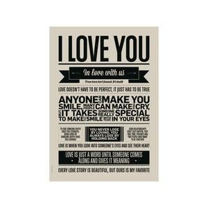 Plakat autorski I Love You Grey, A3