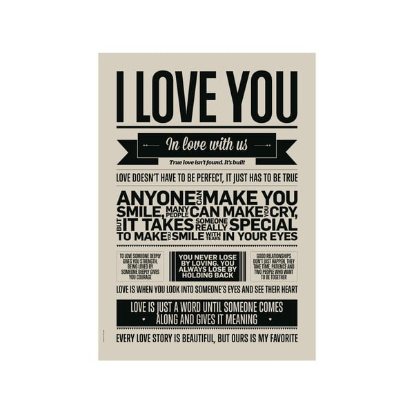 Plakat autorski I Love You Grey, A3