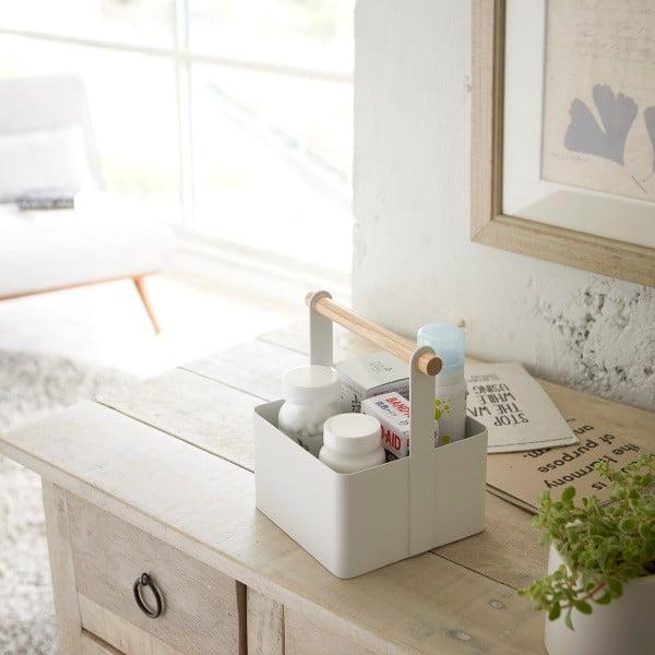 Biały pojemnik z uchwytem Yamazaki Tosca Tool Box S