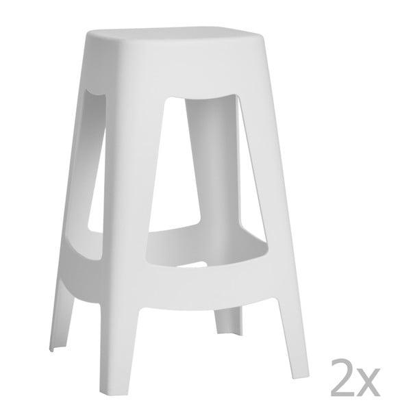 Zestaw 2 stołków barowych D2 Tower, białe
