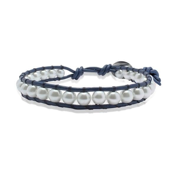 Niebieska bransoletka ze skóry z perłami Lucie & Jade
