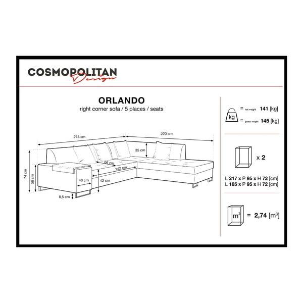 Miodowożółty narożnik z nogami w czarnym kolorze Cosmopolitan Design Orlando, prawy róg