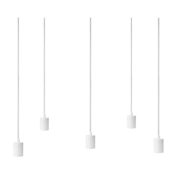 Biała pięcioramienna lampa wisząca z białą oprawką Bulb Attack Cero
