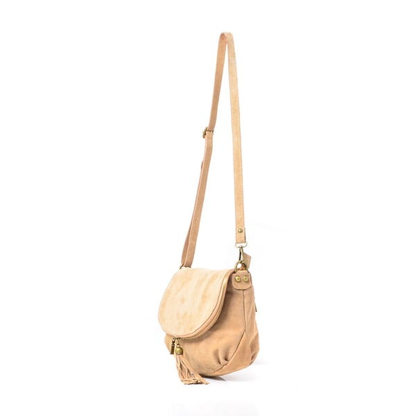 Skórzana torebka Louise, beżowa