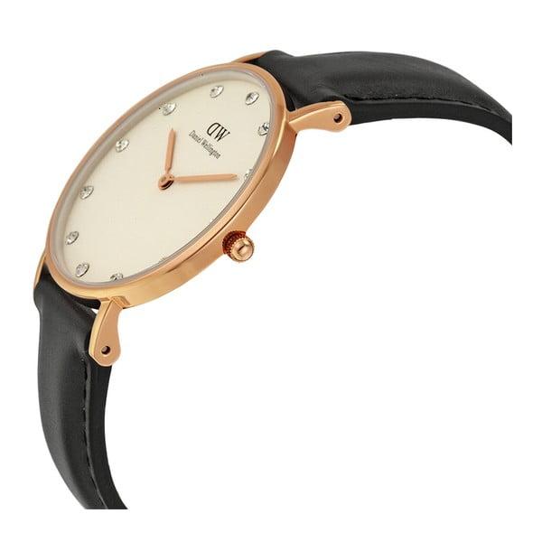 Zegarek damski z czarnym paskiem Daniel Wellington Sheffield Rose, ⌀34mm