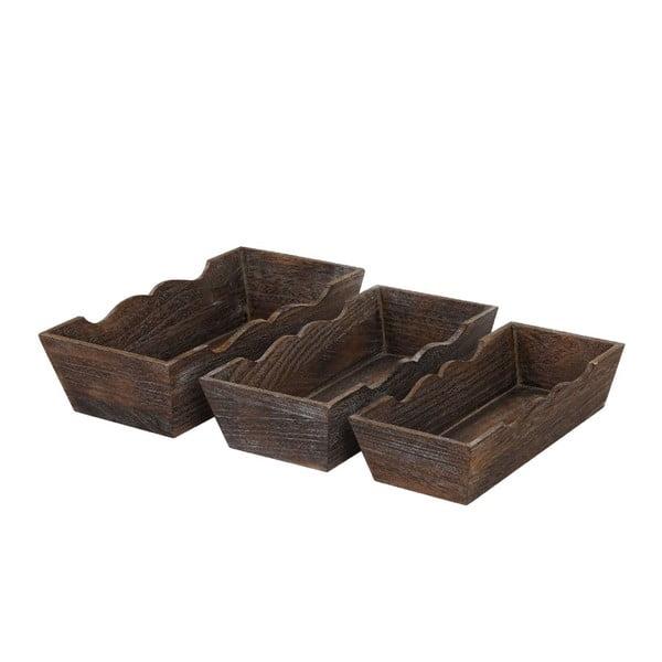 Komplet 3 brązowych misek drewnianych Mendler Shabby