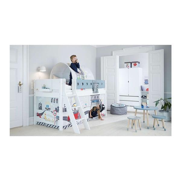 Niebiesko-białe dziecięce łóżko z drabinką Flexa White, wys. 120 cm