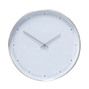 Biały zegar wiszący z ramką w srebrnej barwie Hübsch Ib