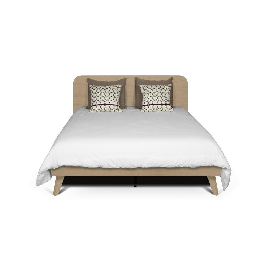 Łóżko z dekorem drewna dębowego TemaHome Mara, 160x200 cm
