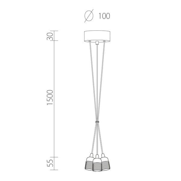 Lampa wisząca potrójna Uno, miedziany/biały/miedziany