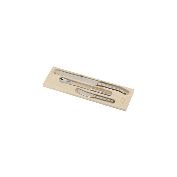 Zestaw 3 noży śniadaniowych w drewnianym opakowaniu Jean Dubost