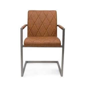Brązowe krzesło z podłokietnikami LABEL51 Oslo