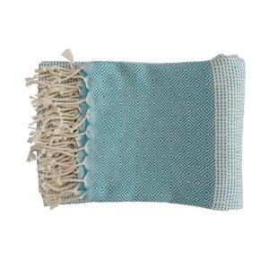 Turkusowy ręcznie tkany ręcznik z bawełny premium Damla,100x180 cm