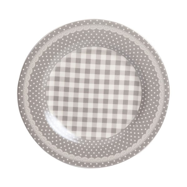 Talerz Grey Dots&Checks, 25.5 cm