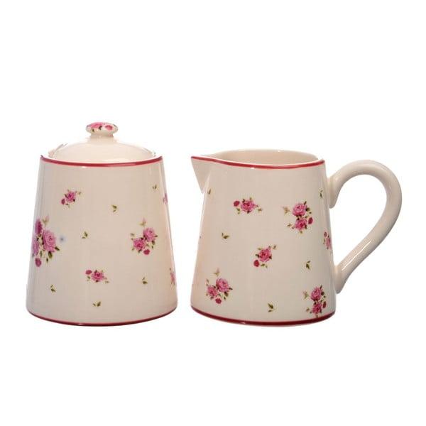 Ceramiczny mlecznik i cukierniczka Rose