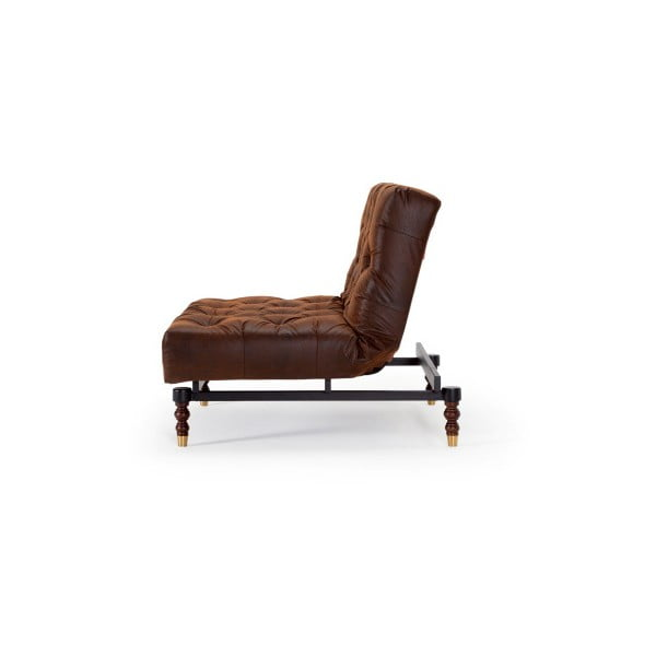 Brązowy fotel rozkładany Innovation Oldschool Leather Look Brown Vintage