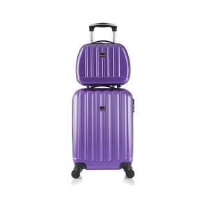 Fioletowa walizka z bagażem podręcznym Bluestar