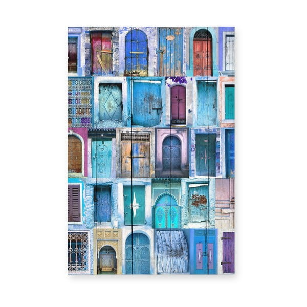 Tabliczka drewniana Really Nice Things Blue Doors