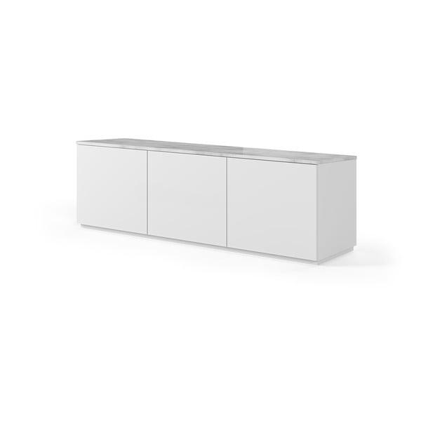 Biała szafka pod TV z białym blatem z dekorem marmuru TemaHome Join, 180x57 cm