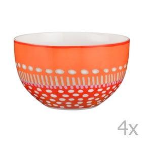 Komplet 4 misek porcelanowych Oilily 12 cm, pomarańczowy