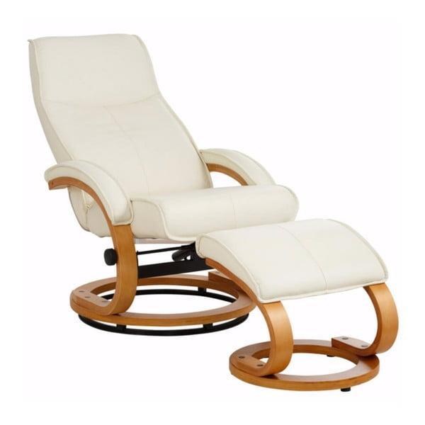 Kremowy regulowany fotel skórzany z podnóżkiem Støraa Rika