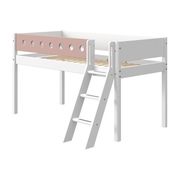 Różowo-białe dziecięce łóżko z drabinką Flexa White, wys. 120 cm