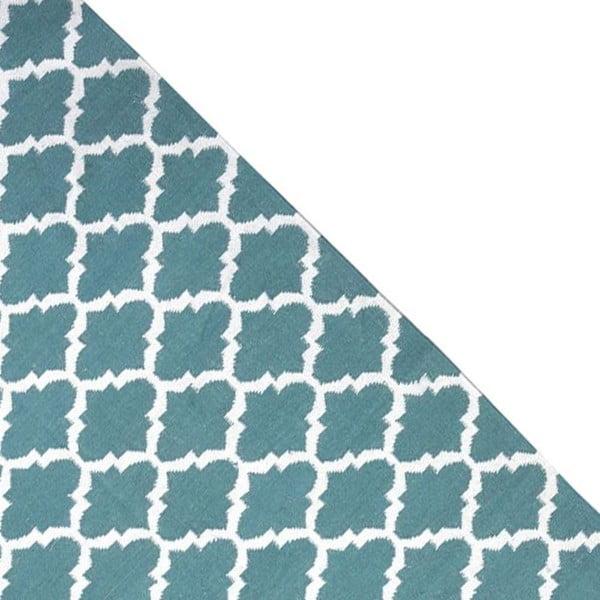 Dywan wełniany Geometry Guilloche Petrol Green & White, 160x230 cm
