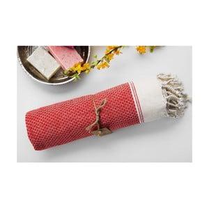 Ręcznik hamam Jacquard Red, 100x180 cm