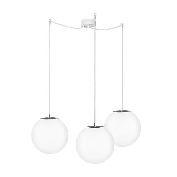 Biało-srebrna potrójna lampa wisząca z białym kablem i białą oprawką Sotto Luce Tsuki