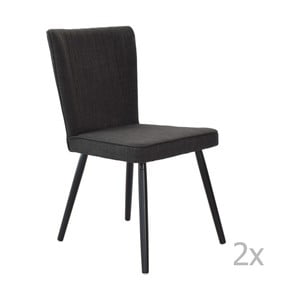 Zestaw 2 krzeseł do jadalni Niles, czarne nogi