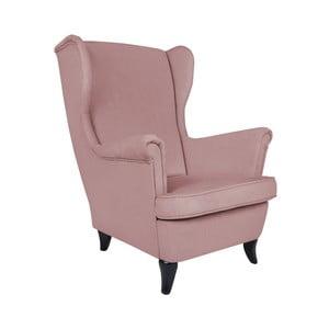 Różowy fotel uszak Micadoni Home Pirla