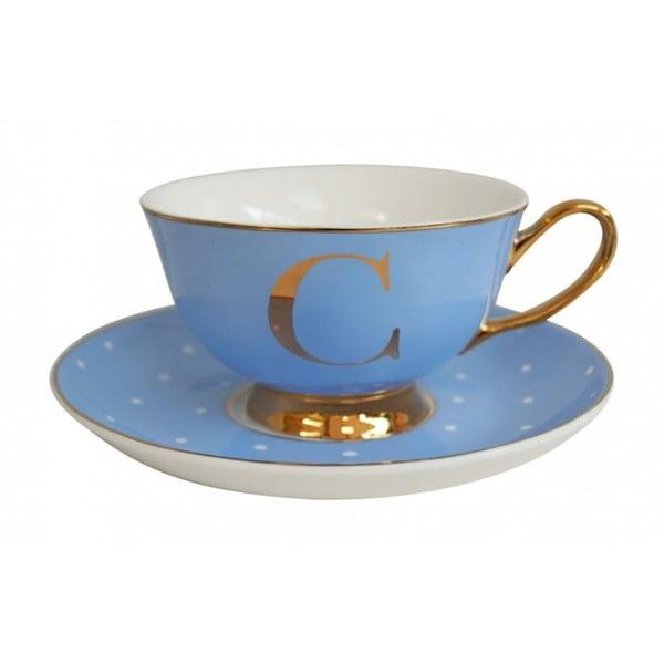Niebieska   filiżanka ze spodkiem z literą C Bombay Duck