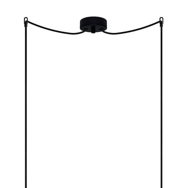 Biało-miedziana podwójna lampa wisząca z czarnym kablem i czarną oprawką Sotto Luce Tsuki, Ø30 cm
