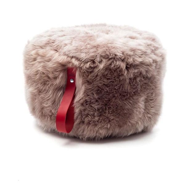 Jasnobrązowo-czerwony puf okrągły Royal Dream