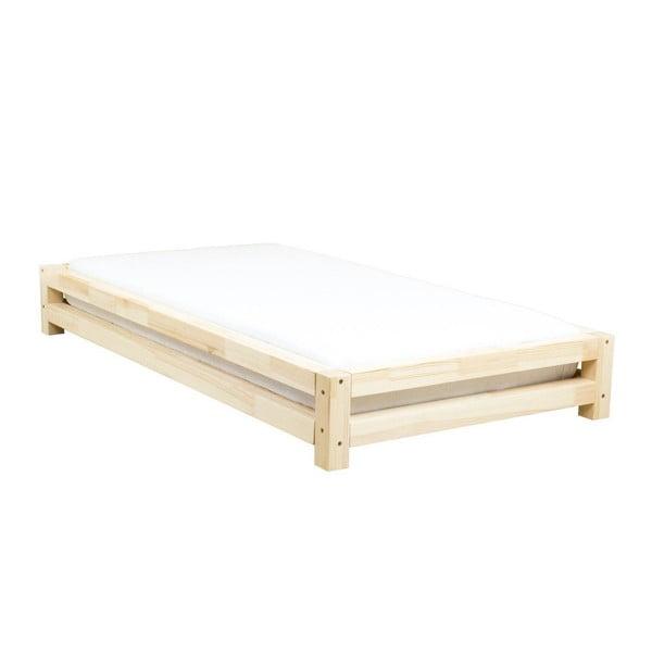 Łóżko 1-osobowe z lakierowanego drewna sosnowego Benlemi JAPA, 90x200 cm