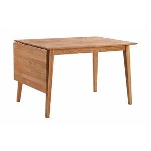 Naturalny stół dębowy z opuszczanym blatem Folke Mimi, długość 120-145 cm