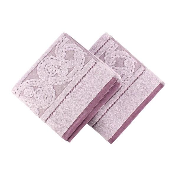 Zestaw 2 fioletowych ręczników Hurrem, 50x90 cm